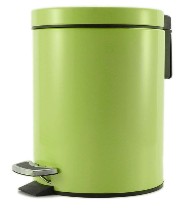 Foot Pedal Stainless Steel Trash Bin Round 12L Green
