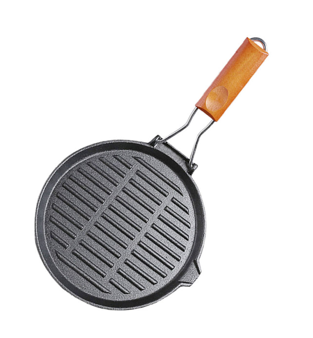 24cm Round Ribbed Cast Iron Skillet Pan with Folding Wooden Handle