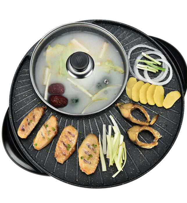 2 in 1 Electric Stone Coated Grill and Hotpot 3-5 Person