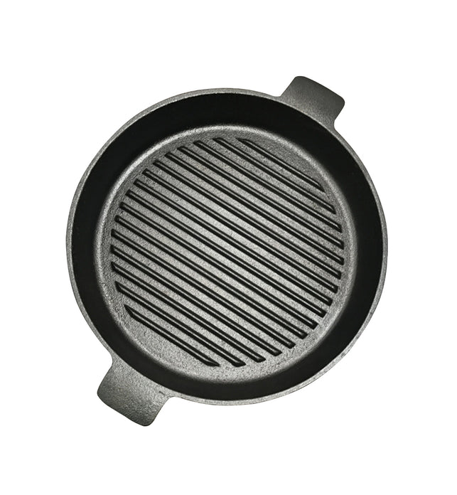 25cm Round Ribbed Cast Iron with Handle