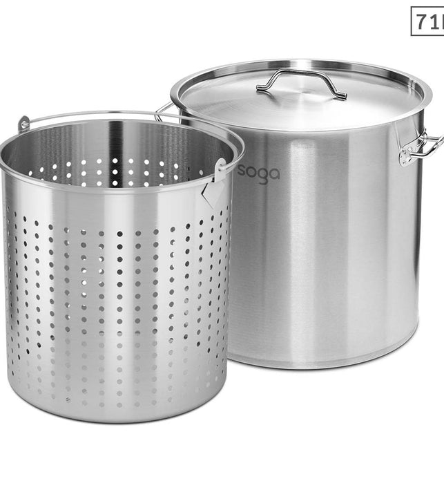 71L 18/10 Stainless Steel Stockpot with Perforated Pasta Strainer
