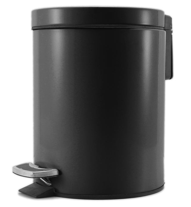 Foot Pedal Stainless Steel Trash Bin Round 12L Black