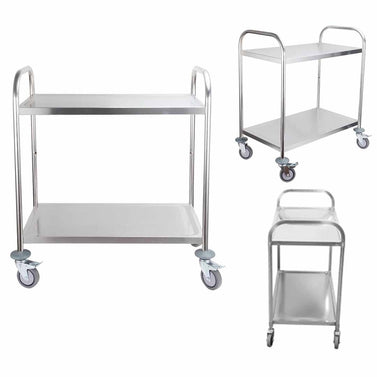 2 Tier Stainless Steel Utility Cart Round 81x46x85cm Small