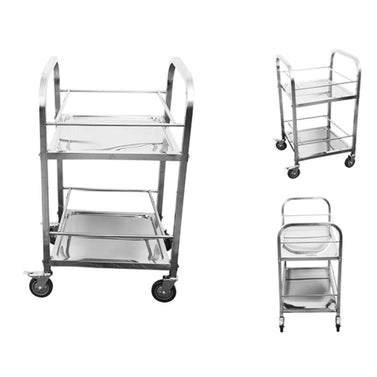 2 Tier Stainless Steel Utility Cart Square 500x500x950