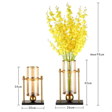42cm 32cm Transparent Glass Vase with Yellow Flower and Candle Set