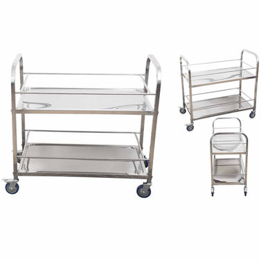 2 Tier Stainless Steel Utility Cart 75x40x84cm Small
