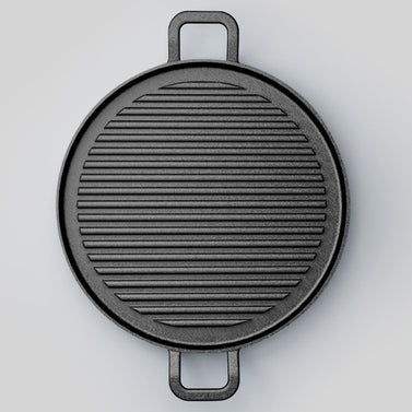 28cm Ribbed Cast Iron Frying Pan Skillet