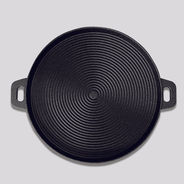 34cm Round Ribbed Cast Iron with Handle