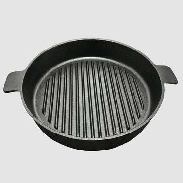 26cm Round Ribbed Cast Iron with Handle