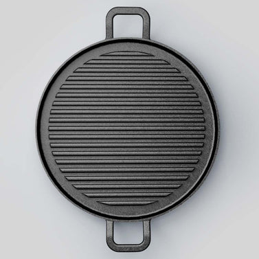 30cm Ribbed Cast Iron Frying Pan Sizzle Platter