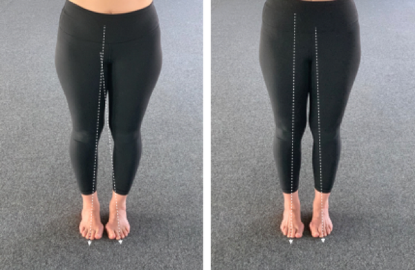 Feet together for bikram yoga showing arch active and neutral foot for yoga practitioners with bunions