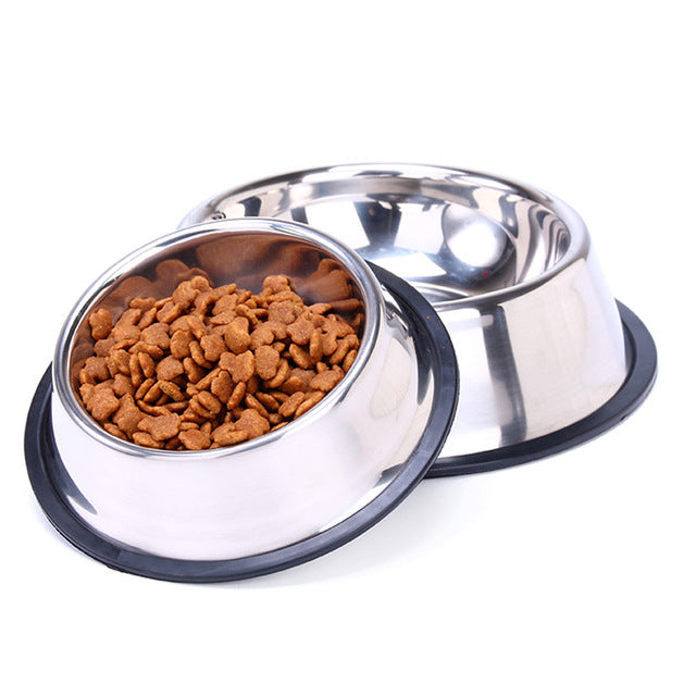 1pcs dog bowl stainless steel travel feeding feeder water bowl for