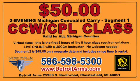 2-Evening Michigan Concealed Carry CCW / CPL Class