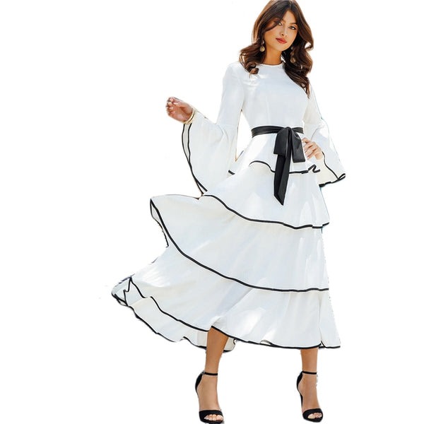 White Contrast Binding Layered Ruffle Hem Belted Maxi Dress