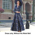 Elegant Women Long Sleeve Long Maxi Autumn Winter Dress Gold Floral Jacquard Fall V neck