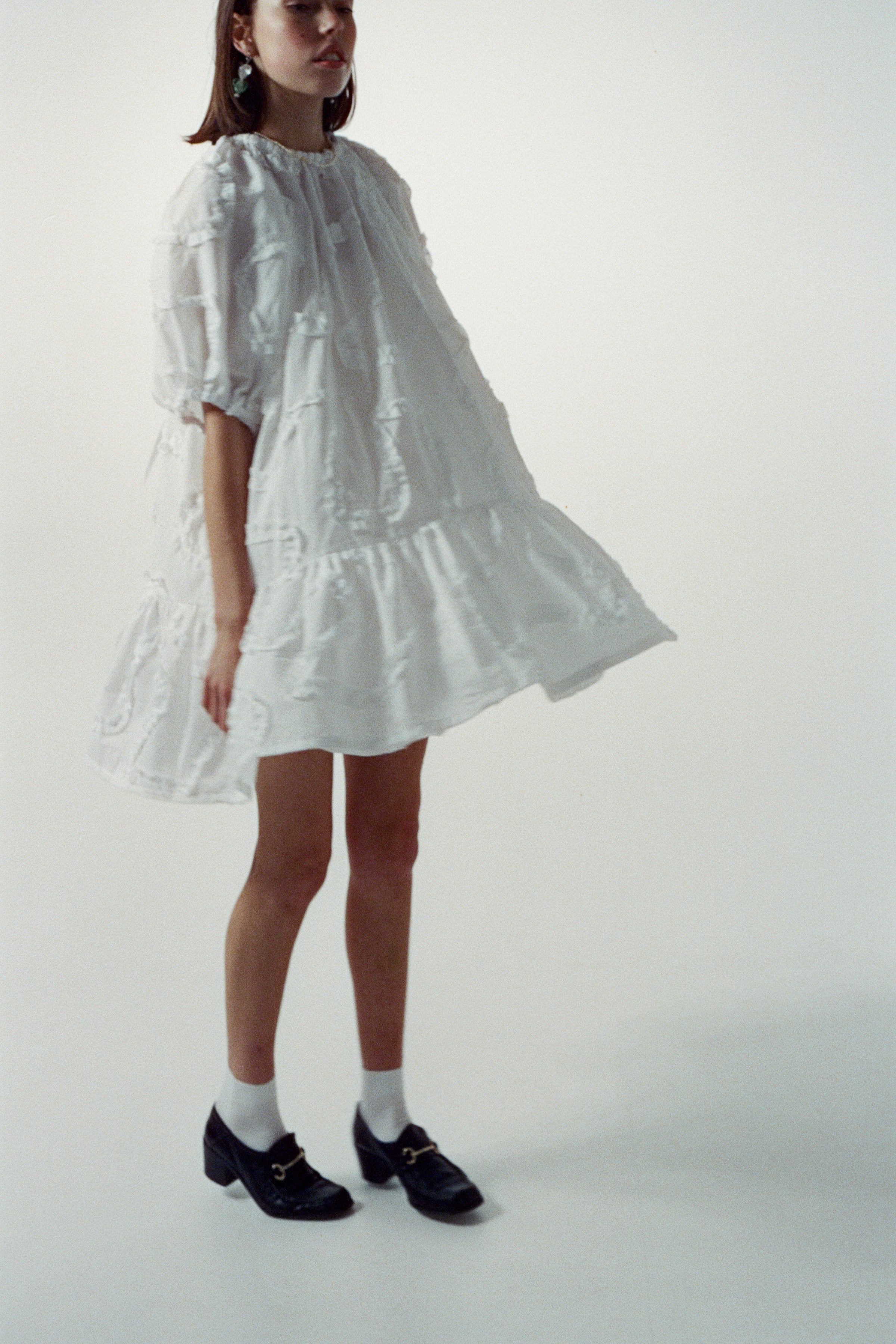 Josie Dress - White Ruffle