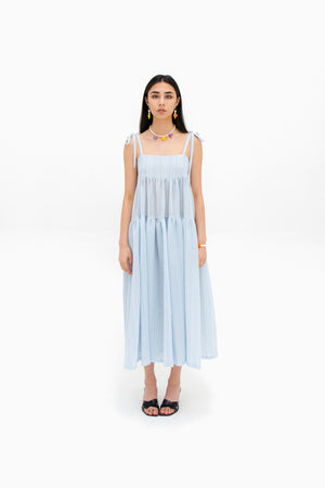 Tier Dress - Blue Stripe