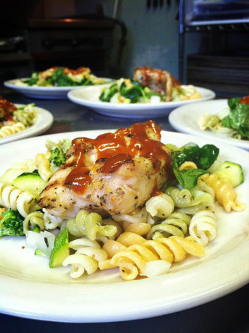 chicken and pasta meal