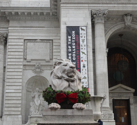 New York Pubic Library Lion with Wreath