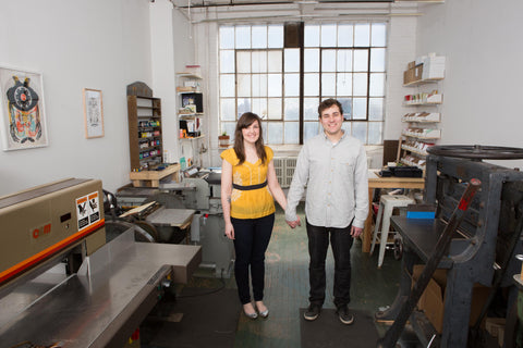 Danielle and Joe of Wishbone Letterpress in their studio