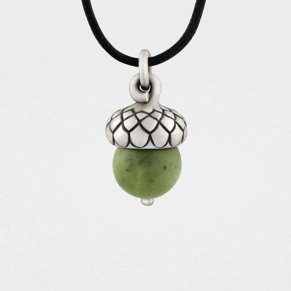 Green Jade Acorn Pendant - Snake Bones - New York Makers