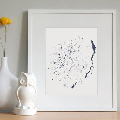 Adirondack Park Lakes Hand-Drawn Map Print