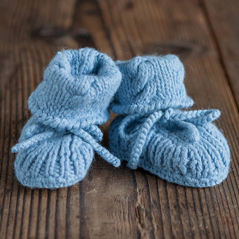 Alpaca Baby Booties in Light Blue