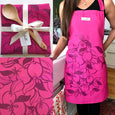 Handprinted Kitchen Apron and Matching Wooden Spoon in Multiple Colors