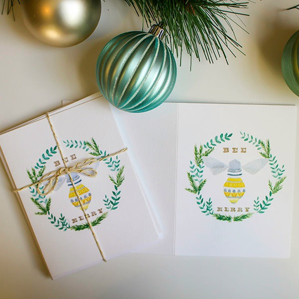 Holiday Bee Merry Card Set - Harlem Hill - New York Makers