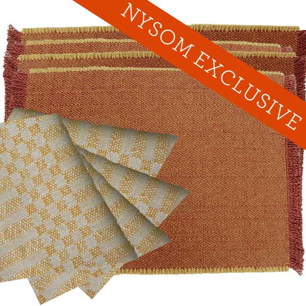 "Wool Placemat & Cotton Napkin Set in ""Birdseye Double Diamond""/""M's and O's"""