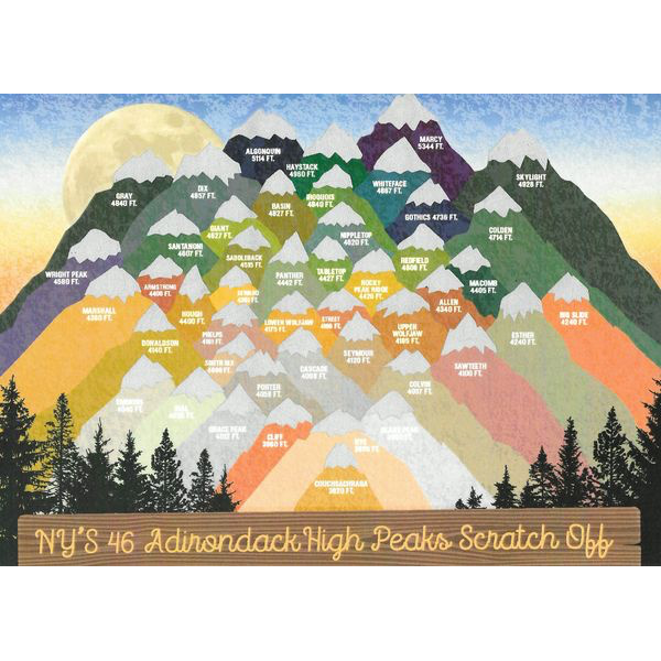 NY's 46 Adirondack High Peaks Scratch Off Poster - Peak Quest - New York Makers