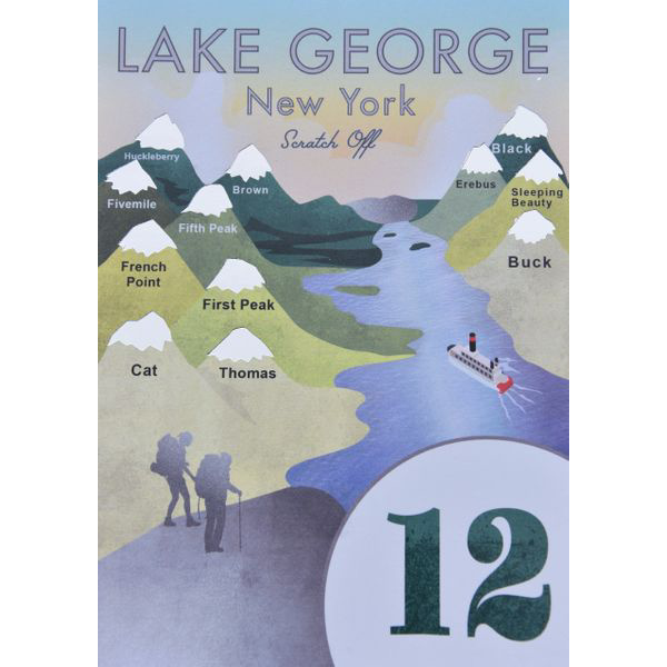 Lake George 12ster Scratch Off Card - Peak Quest - New York Makers