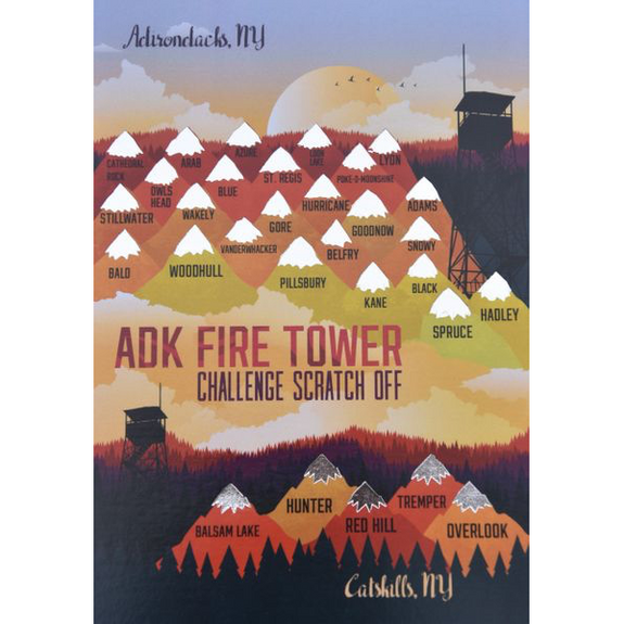 ADK Fire Tower Challenge Scratch Off Card - Peak Quest - New York Makers