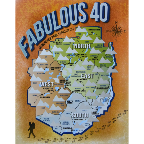 Adirondack Park Fabulous 40 Scratch Off Poster - Peak Quest - New York Makers