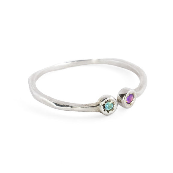 Estrella Pisces Stacking Ring in Sterling Silver with Blue Topaz and Amethyst - Gabriela Jewelry - New York Makers