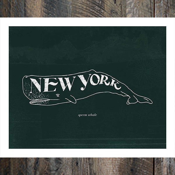 New York Sperm Whale Print in Dark Blue