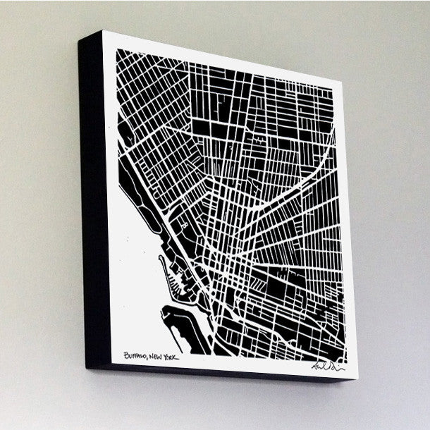 Buffalo Woodblock-Mounted Map Print