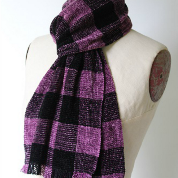 Chenille Buffalo Check Scarf in Multiple Colors