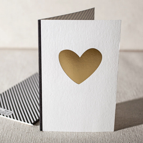 Heart of Gold Letterpress Greeting Card