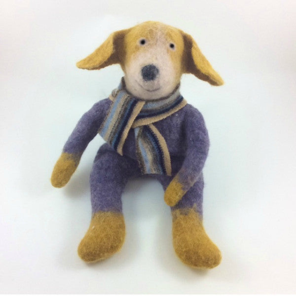 Dog Felted Stuffed Animal in Mustard and Lavender