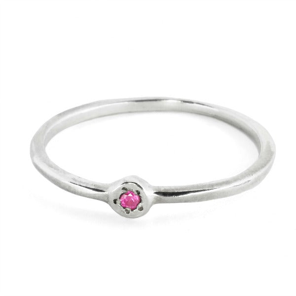 Estrella Orion Stacking Ring in Sterling Silver with Pink Garnet - Gabriela Jewelry - New York Makers