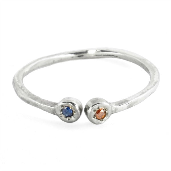 Estrella Pisces Stacking Ring in Sterling Silver with Garnet and Iolite