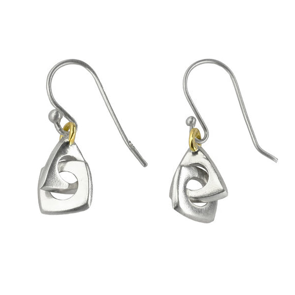 Euclides Polygon Earrings in Sterling Silver + 14k Gold - Gabriela Jewelry - New York Makers