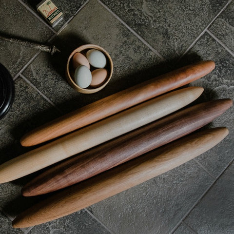 French Rolling Pin in Multiple Wood Finishes and Sizes