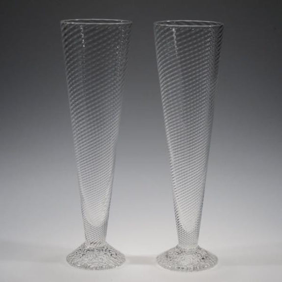 Handblown Champagne Glasses - Tom Stoenner Glass - New York Makers