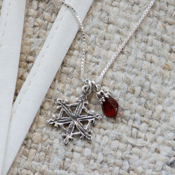 Garnet and Snowflake Charm Necklace