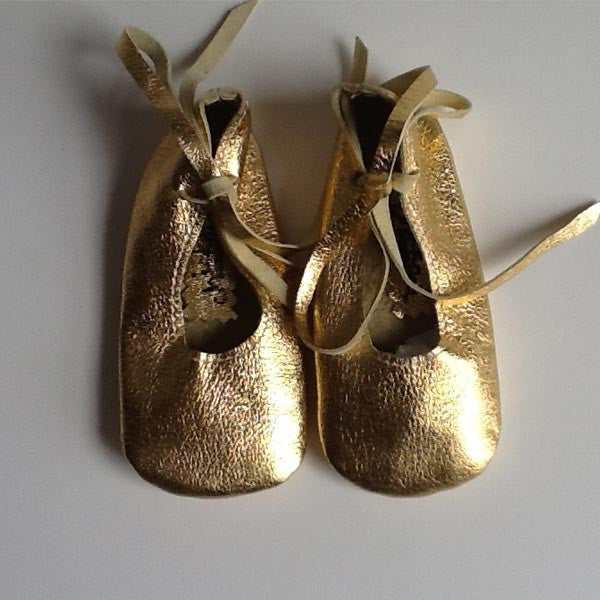 Gold Lambskin Baby Ballet Shoes