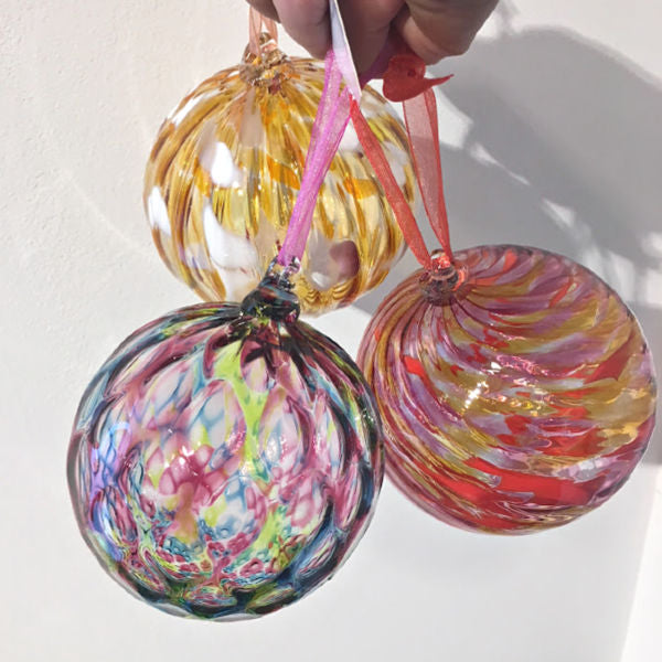 Round Handblown Glass Ornaments in Multiple Colors