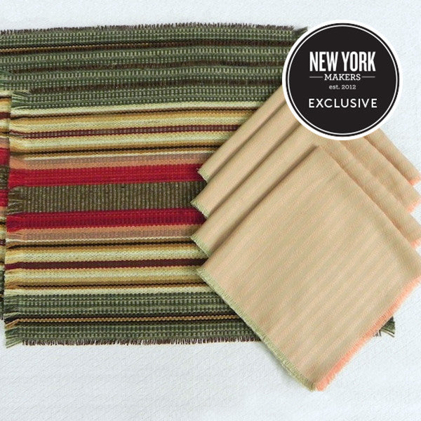 "Wool Placemat & Cotton Napkin Set in ""Holly Berry""/""Dimity Stripe"""