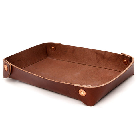 Accessory Tray in Brown Leather